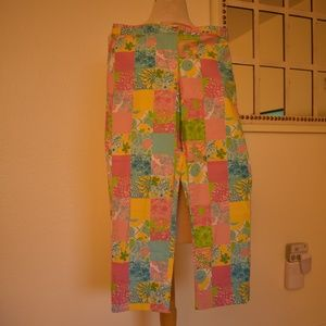 Lilly Pulitzer Patchwork Capri Cropped Pants EUC